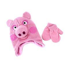 b8cc651a7d0 Peppa Pig Kids Hat and Mittens Set (Peppa Costume Pink) A..
