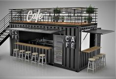 Cafe Shop Design, Coffee Shop Interior Design, Kiosk Design, House Design, Container Coffee Shop, Mobile Coffee Shop, Small Coffee Shop, Container Design, Design Case