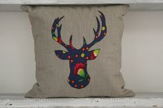 Handmade Applique 40x40 Floral Reindeer Design by TurkishBits
