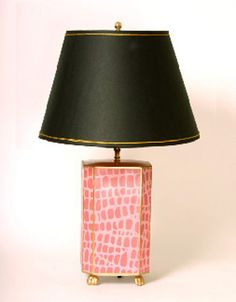Picture of Tole Pink Croc Lamp with Black Shade