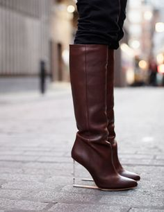 Maison Martin Margiela with H plexi wedge leather knee-high boots. Hello winter boots!