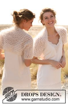 """Knitted DROPS bolero with lace pattern in """"Vienna"""". Size: S to XXXL."""