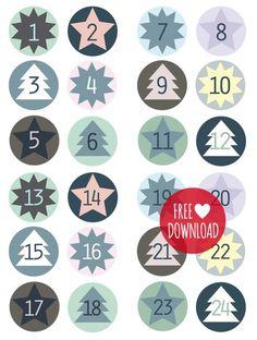 DIY - Blue labels for the advent calendar Christmas Calendar, Christmas Countdown, Winter Christmas, All Things Christmas, Christmas Holidays, Christmas Crafts, Advent Calenders, Diy Advent Calendar, Diy Calendario