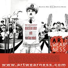 Artwearness Design 'Machine Men' is directly inspired on The Great Dictator of Charley Chaplin. He must have been a visionaire because his words are still needed. See also the Great Dictators Speech. The speech is partially used on the T-shirt.