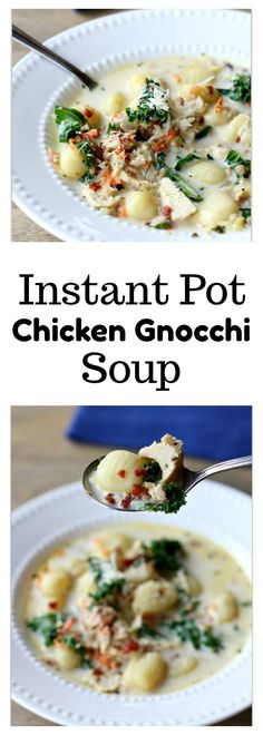 Instant Pot Chicken Gnocchi Soup–A creamy soup with tender, moist bites of chicken, bacon crumbles, bright green leafy kale, Parmesan cheese and dumpling-like gnocchi.