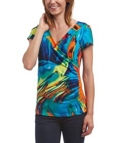 Loving this Blue & Red Abstract Ruched Surplice Top - Women & Plus on #zulily! #zulilyfinds