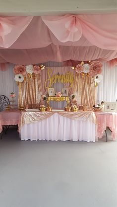 communion rose gold, pink and gold desert table Sweet 16 Party Decorations, Quince Decorations, Birthday Decorations, Pink And Gold Birthday Party, 18th Birthday Party, Quinceanera Centerpieces, Quinceanera Themes, Pink Sweet 16, Sweet 15