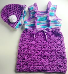 I'm selling Baby Sundress in Purple with Ruffles and Matching Cloche - $35.00 #onselz