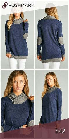 Navy Tunic Sweater Color block tunic sweater with contrast elbow pads and neckline detailing.   Fabric: 96.4% Rayon 3.6% Spandex Tops Tunics