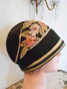 d6db00b323fdc Beautiful 1920 s Flapper Downton Abbey Hat Cloche with Embroidered  Silk Chenille Flowers
