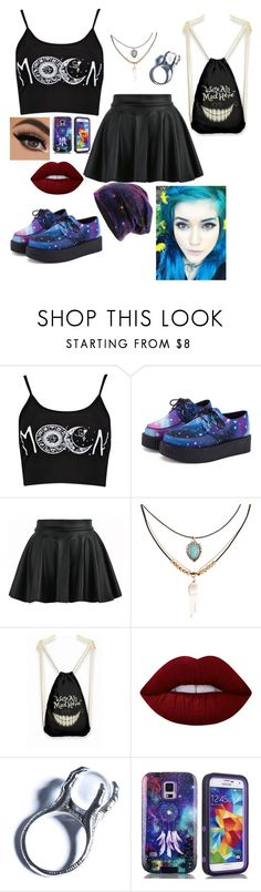 """""""birthday party"""" by luna-the-outcast ❤ liked on Polyvore featuring Boohoo, Accessorize, Lime Crime, Kill Star and Samsung"""