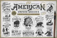 """AMERICAN VINTAGE BADGES PART SIX by Opus NigrumInspired by classic American designs of the century comes a new pack of """"American Vintage Badges"""". With different quotes about life and power of nature. Create your own badge or logo with a vintage touch. Web Design, Logo Design, Graphic Design, Vector Design, Business Brochure, Business Card Logo, Branding, Logo Café, Texture Web"""