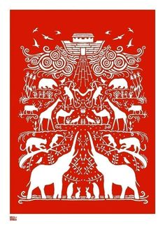 Noah's Ark screen print in poppy red by Bold & Noble