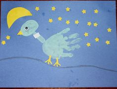 Don't let the Pigeon Stay Up Late!  A fun little craft using a child's hand print.