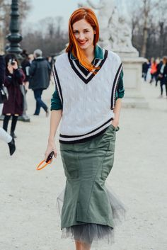 March 5, 2013  Tags White, Paris, Green, Junya Watanabe, Women, Skirts, Blouses, Taylor Tomasi Hill, Vests, Olive, Tulle, 1 Person, Cable Knit