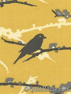 Aviary 2 JD41-Vintage Yellow Fabric by Joel Dewberry