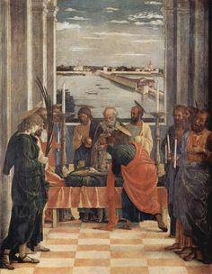 Andrea Mantegna.  Der Tod Mariä, Fragment. Um 1461, Tempera auf Holz, 54 × 42 cm. Madrid, Museo del Prado. Tafel zum Triptychon der Uffizien in Florenz gehörig, urspr. in der Palastkapelle des Herzogs von Mantua. Italien. Renaissance.  KO 03222