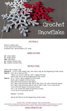 I love snowflakes. I love to crochet them and to decorate with them. We use them as Christmas tree ornaments and on hanging wreath. Every year I'm asked to share crochet snowflakes diagrams/p… Christmas Crochet Patterns, Crochet Christmas Ornaments, Holiday Crochet, Crochet Snowflakes, Christmas Snowflakes, Christmas Crafts, Crochet Stars, Free Crochet Snowflake Patterns, Xmas