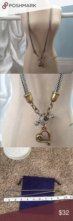 Brighton Silver and Gold Necklace Brighton Silver and Gold Necklace has a silver chain with gold accents. The heart dangles in the front with the toggle. Super cute! Brighton Jewelry Necklaces