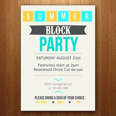Customizable Summer Party Invitation / Block pool BBQ by ElleOL