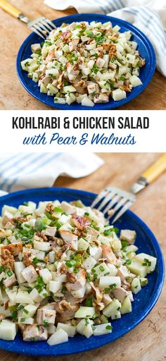 Kohlrabi & Chicken Salad with Pear & Walnuts and creamy chive dressing. Paleo, Whole30, Clean Eating friendly. Recipe via Eat Drink Paleo http://eatdrinkpaleo.com.au/kohlrabi-salad-with-chicken-and-pear/