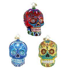 Christopher Radko La Calavera, Blue La Calavera & Calavera de Oro Skeleton Head Themed Glass Christmas Ornaments