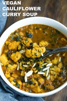 This easy Vegan Cauliflower Curry Soup is so full of flavor, spices, hearty texture and is oil-free and comforting. This is the perfect soup to warm you up all season! This Vegan Cauliflower Curry Soup Beef Recipes, Whole Food Recipes, Soup Recipes, Vegetarian Recipes, Healthy Recipes, Pasta Recipes, Healthy Food, Curry Soup, Cauliflower Curry