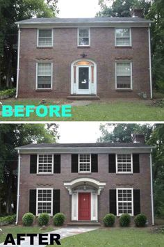 Home Exterior Renovation Before And After before & after: painted brick ranch style home - brick, sherwin