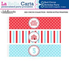 Red Circus Printable small and large water bottle labels, Circus Party, Printable Party, DIY Party, Circus Printable, DIY Party Decor