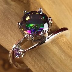 .925 SILVER 1ct  t Mystic Rainbow Topaz & Amethyst  Ring  CH027  . Starting at $1