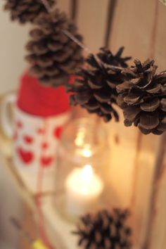 For the pinecones we've been collecting: Christmas garland? via A Pair of Pears: Indoor Winter Party Winter Parties, Winter Holidays, Holidays And Events, Christmas Holidays, Christmas Crafts To Sell, All Things Christmas, Holiday Crafts, Holiday Decor, Hot Chocolate Party