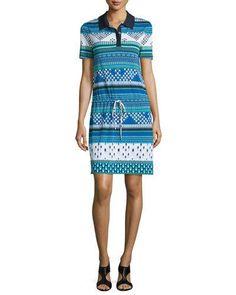 DIANE VON FURSTENBERG Kassie Printed Short-Sleeve Polo Dress. #dianevonfurstenberg #cloth #