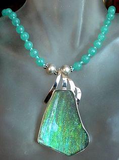 Aqua Blue Necklace c/w Aqua Blue Silver Ancient Roman by camexinc, $55.00