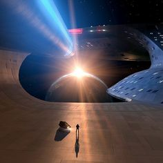 A sunrise seen from the vantage point of the Enterprise.