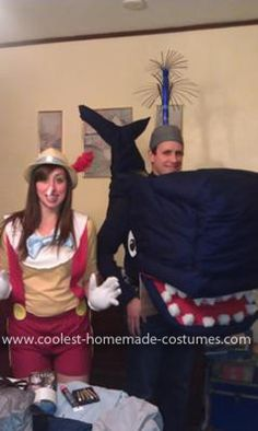 Homemade Monstro and Pinocchio Couple Costume: We started this Homemade Monstro and Pinocchio Couple Costume on Friday at about 7pm for a party Saturday night at 9:30pm. I would like to say it was easy