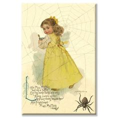 """Buyenlarge Little Miss Muffett by Maud Humphrey Vintage Advertisement on Wrapped Canvas Size: 20"""" x 30"""""""
