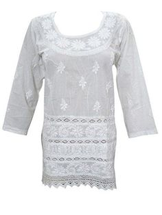 Womens Boho Blouse White Floral Embroidered Bohemian Indi... https://www.amazon.ca/dp/B01NCZ3EP1/ref=cm_sw_r_pi_dp_x_gMjIybMT2P47D - shirts and blouses for women, light grey blouse, white collared sleeveless blouse *ad