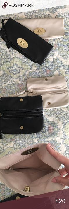 Clutch/Wristlet Bundle 2 faux leather clutch/wristlets. Black with gold hardware and cream with gold hardware. Removable wrist strap. No damage besides light scratching on the clasps. No brand is listed. Bags Clutches & Wristlets