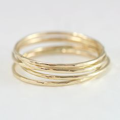 Five+Solid+14k+Yellow+Gold+Stacking+Rings++Set+by+ScarlettJewelry,+$329.00