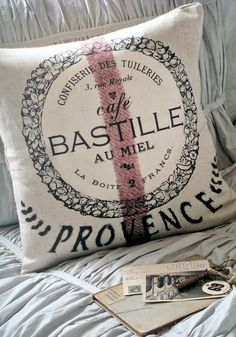 Pillow Cover Grain Sack Pillow Cafe Bastille French by JolieMarche French Decor, French Country Decorating, French Pillows, Grain Sack, French Country Cottage, Bastille, Provence, Decoration, Bed Linen