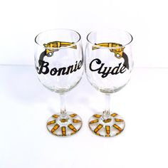 Hand Painted Wine Glasses  Couples Wine Glasses by NocturnalPandie