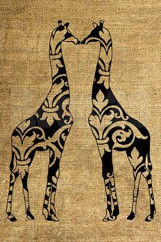 INSTANT DOWNLOAD  Vintage Giraffes Illustration  by room29 on Etsy, $3.00