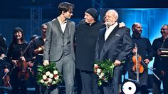 Penderecki and Radiohead's Jonny Greenwood, on stage after a 2011 concert.