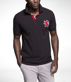 FITTED LARGE LION PIQUE POLO at Express