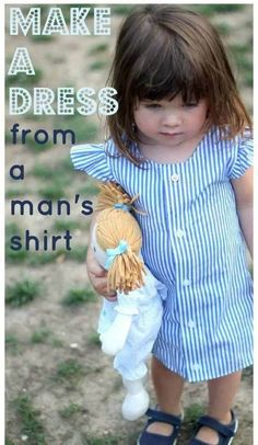 Upcycle Ideas: What you can do with a man's shirt? Transform it to a girl's skirt - Guru Koala