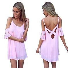 Chicnova Women's Pink Summer Beach Spaghetti Strap Cross Back Mini Short Dress Chicnova http://www.amazon.com/dp/B00ZC5AG16/ref=cm_sw_r_pi_dp_6ONZwb0P123S2