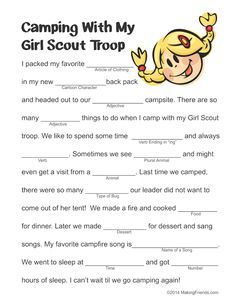 Girl Scout camping Mad LIb. Free printable available at MakingFriends.com