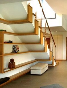 44 Unbelievable Storage Under Staircase Ideas Bewitching Your Staircase Look Clever - Elevatedroom Home Stairs Design, Interior Stairs, Home Interior Design, House Design, Stair Design, Railing Design, Bookshelf Design, Interior Door, Interior Ideas
