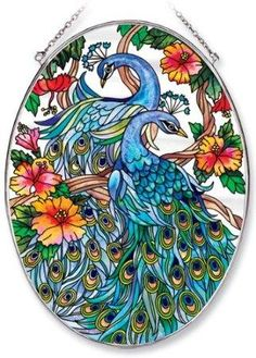 Amia Oval Suncatcher with Peacock Design, Hand Painted Glass Peacock Decor, Peacock Art, Peacock Design, Stained Glass Flowers, Stained Glass Art, Flower Picture Frames, Glass Painting Designs, Glass Wall Art, Learn To Paint