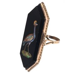 19th Century Italian Gold Micromosaic Bird Ring | From a unique collection of vintage more rings at https://www.1stdibs.com/jewelry/rings/more-rings/